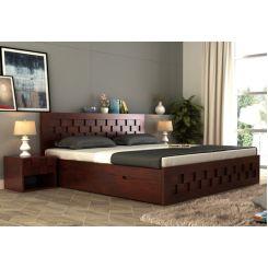 Travis Bed With Storage (King Size, Mahogany Finish)