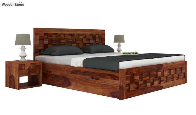 Travis Bed With Storage (King Size, Teak Finish)-2