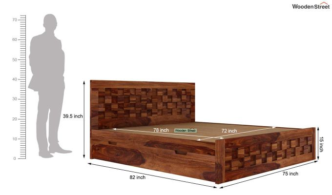 Travis Bed With Storage (King Size, Teak Finish)-6
