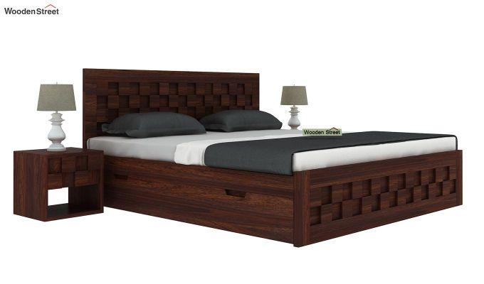 Travis Bed With Storage (King Size, Walnut Finish)-2