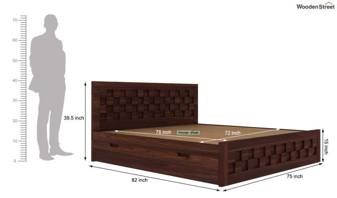 Travis Bed With Storage (King Size, Walnut Finish)-6