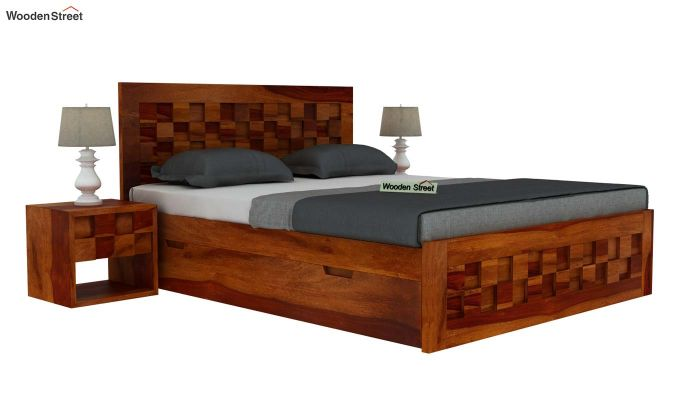 Travis Bed With Storage (Queen Size, Honey Finish)-2