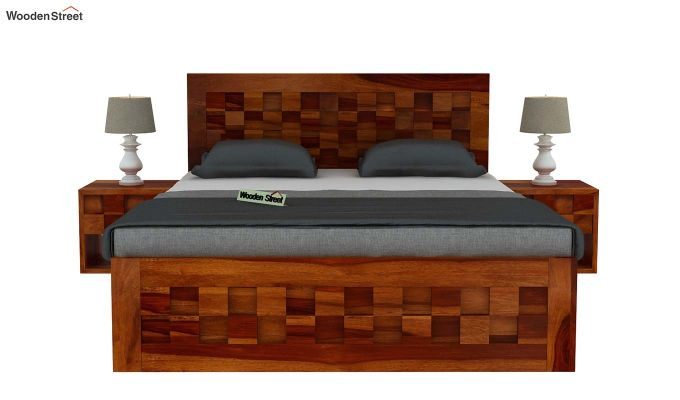 Travis Bed With Storage (Queen Size, Honey Finish)-3