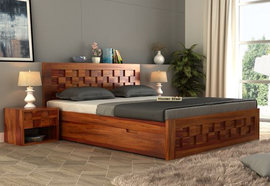Wooden Queen Size Double Bed With Storage Box In Honey Finish