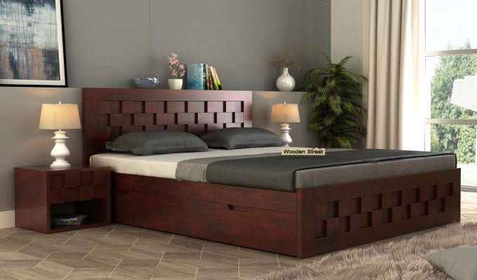 Travis Bed With Storage (Queen Size, Mahogany Finish)-1