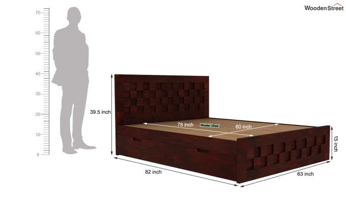 Travis Bed With Storage (Queen Size, Mahogany Finish)-6