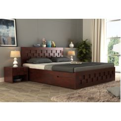 Travis Bed With Storage (Queen Size, Mahogany Finish)