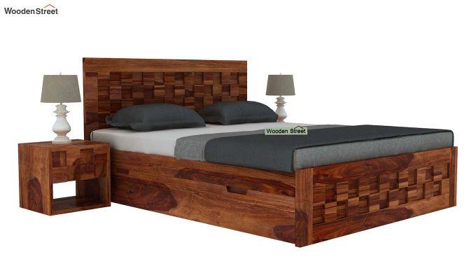Travis Bed With Storage (Queen Size, Teak Finish)-2