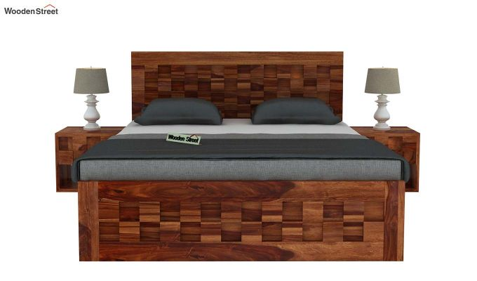 Travis Bed With Storage (Queen Size, Teak Finish)-3