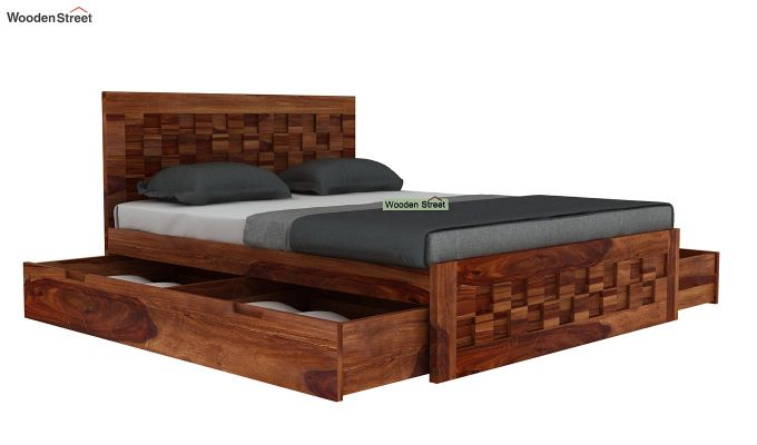 Travis Bed With Storage (Queen Size, Teak Finish)-4