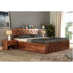Travis Bed With Storage (Queen Size, Teak Finish)