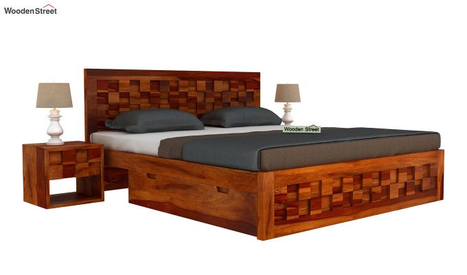 Travis Bed Three Quarter 3/4 With Storage (King Size, Honey Finish)-2