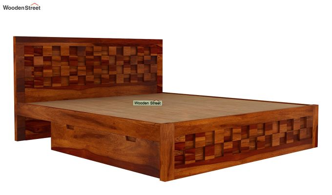 Travis Bed Three Quarter 3/4 With Storage (King Size, Honey Finish)-5