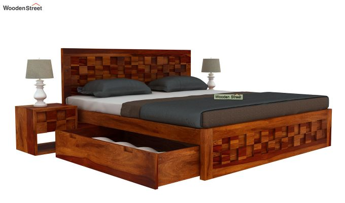 Travis Bed Three Quarter 3/4 With Storage (King Size, Honey Finish)-4