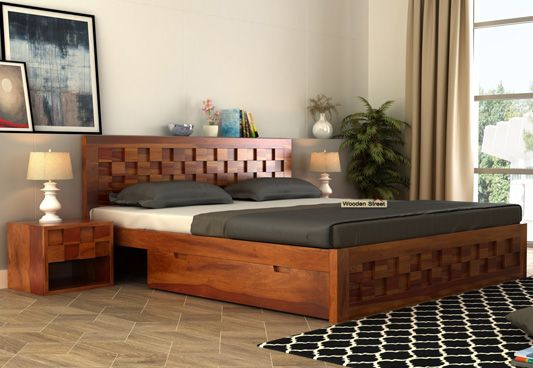 Travis Bed Three Quarter (3/4) With Storage (King Size, Honey Finish)