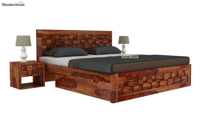 Travis Bed Three Quarter 3/4 With Storage (King Size, Teak Finish)-2