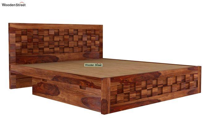 Travis Bed Three Quarter 3/4 With Storage (King Size, Teak Finish)-5