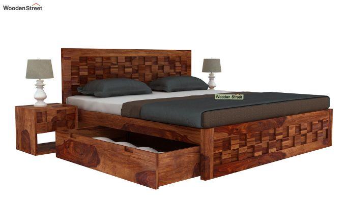 Travis Bed Three Quarter 3/4 With Storage (King Size, Teak Finish)-4