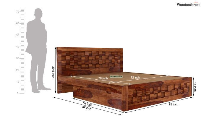 Travis Bed Three Quarter 3/4 With Storage (King Size, Teak Finish)-6