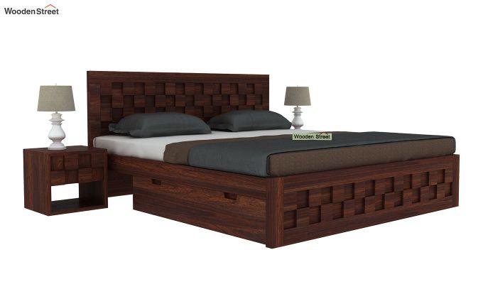 Travis Bed Three Quarter 3/4 With Storage (King Size, Walnut Finish)-2