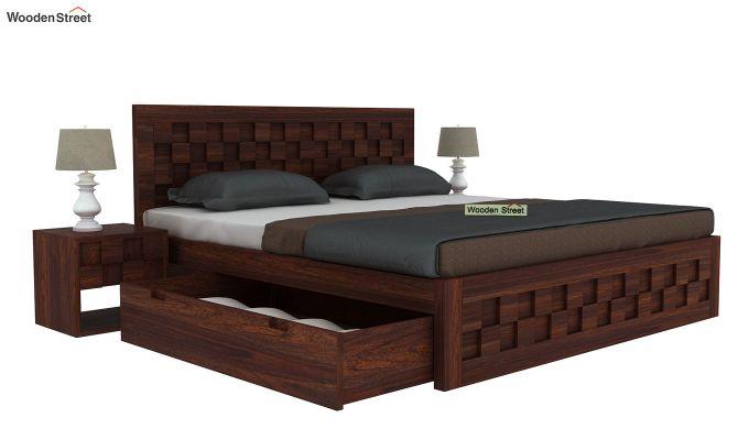 Travis Bed Three Quarter 3/4 With Storage (King Size, Walnut Finish)-4