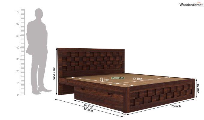 Travis Bed Three Quarter 3/4 With Storage (King Size, Walnut Finish)-6