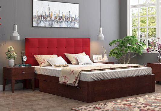 buy beds with fabric upholstery in Pune