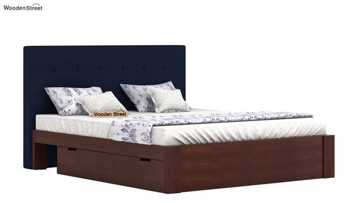 Wagner Upholstered Bed With Side Storage (Queen Size, Indigo Ink)-2