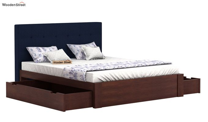 Wagner Upholstered Bed With Side Storage (Queen Size, Indigo Ink)-4
