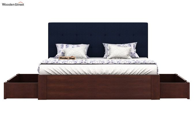 Wagner Upholstered Bed With Side Storage (Queen Size, Indigo Ink)-5