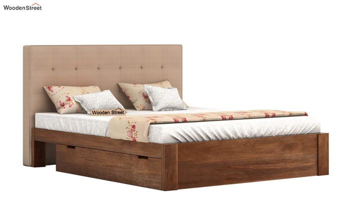 Wagner Upholstered Bed With Side Storage (Queen Size, Irish Cream)-2