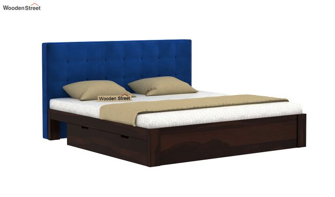 Wagner Upholstered Bed With Side Storage (King Size, Indigo Blue)-2