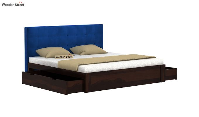 Wagner Upholstered Bed With Side Storage (King Size, Indigo Blue)-4