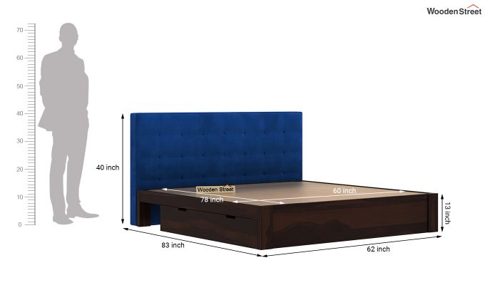 Wagner Upholstered Bed With Side Storage (Queen Size, Indigo Blue)-8