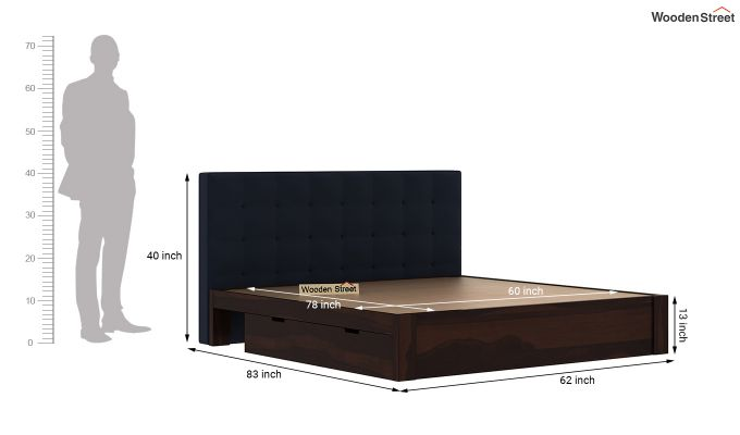 Wagner Upholstered Bed With Side Storage (Queen Size, Indigo Ink)-8