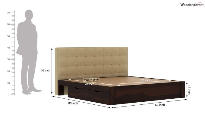 Wagner Upholstered Bed With Side Storage (Queen Size, Irish Cream)-8