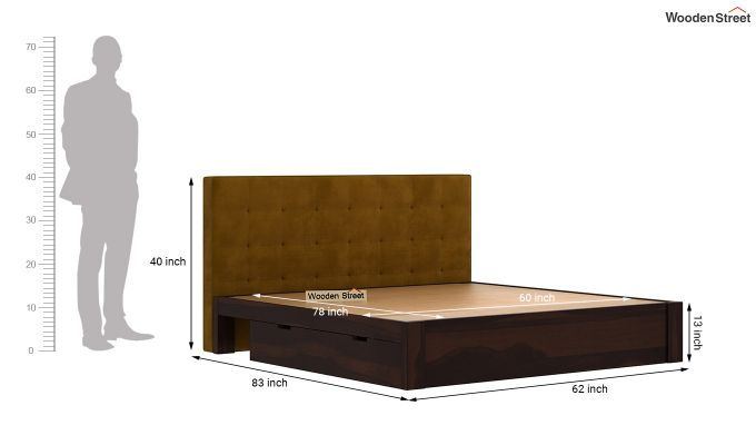 Wagner Upholstered Bed With Side Storage (Queen Size, Chestnut Brown)-8