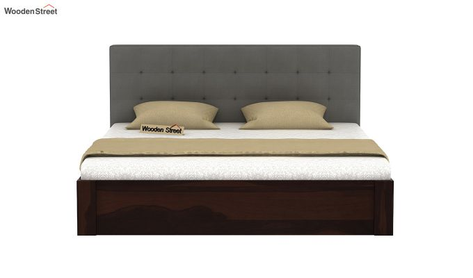 Wagner Upholstered Bed With Side Storage (Queen Size, Warm Grey)-3