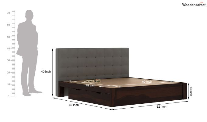 Wagner Upholstered Bed With Side Storage (Queen Size, Warm Grey)-8