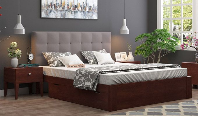 Wagner Upholstered Bed With Side Storage (Queen Size, Warm Grey)-1