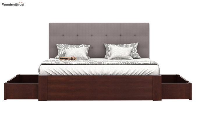 Wagner Upholstered Bed With Side Storage (Queen Size, Warm Grey)-5