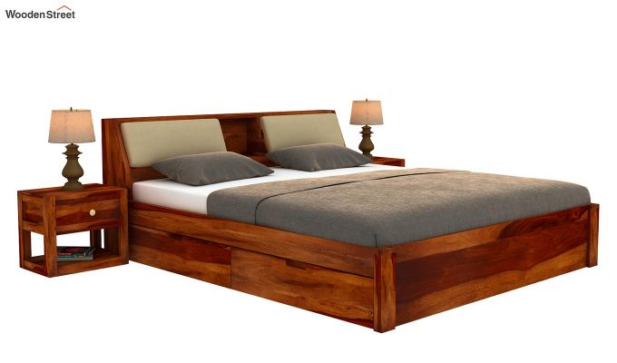 Walken Bed With Storage (King Size, Honey Finish)-2