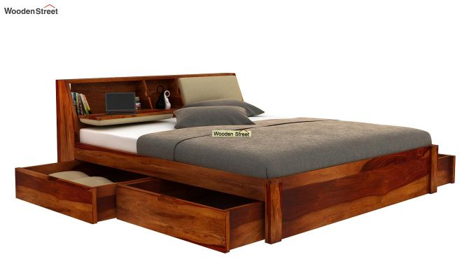 Walken Bed With Storage (King Size, Honey Finish)-4