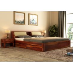 Walken Bed With Storage (Queen Size, Honey Finish)