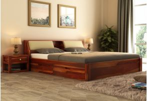 Walken Queen Size Wooden Double Bed With Headboard And Under Storage