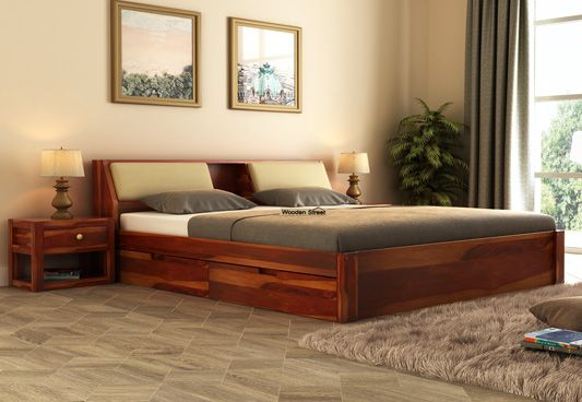 Bestseller Walken Queen Size Wooden Double Bed With Headboard And Under  Storage