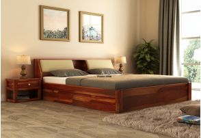 Wooden Queen Size Beds Buy Queen Size Bed Online Upto 55 Off