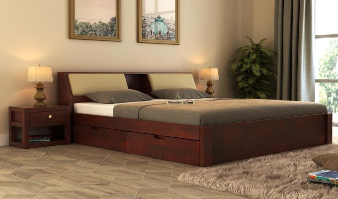 Walken Bed With Storage (Queen Size, Mahogany Finish)-1