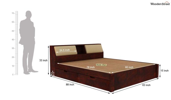 Walken Bed With Storage (Queen Size, Mahogany Finish)-8