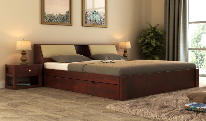 Walken Bed With Storage (King Size, Mahogany Finish)-1